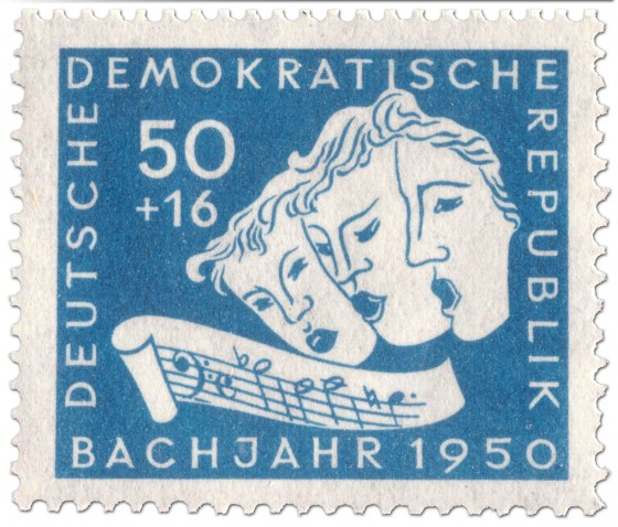Briefmarke: Drei Sänger, Noten: B-A-C-H