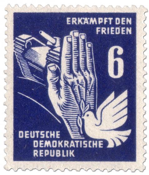 Briefmarke: Panzer, Taube und Hand