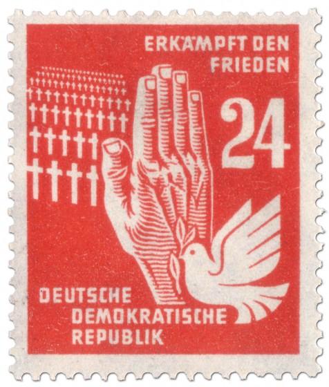 Briefmarke: Soldatenfriedhof, Taube und Hand