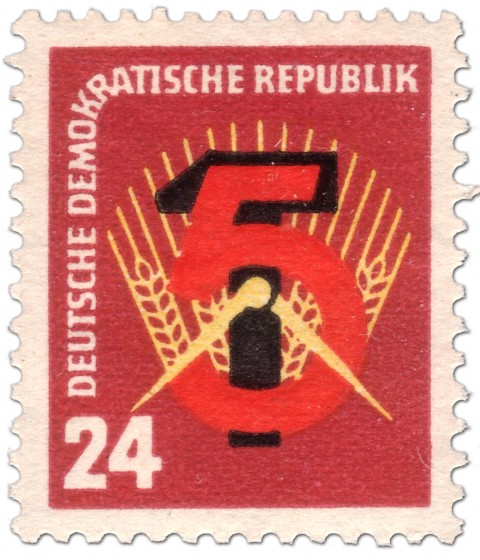 Briefmarke: Hammer, Sichel und Ähren: Erste Fünfjahresplan der DDR