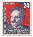 Briefmarke: 80. Geburtstag von Karl Liebknecht (Sozialist)