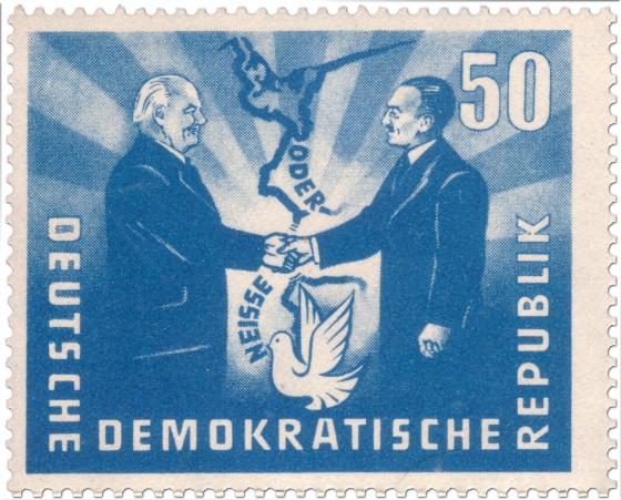 Briefmarke: Oder-Neiße Grenze und Friedenstaube