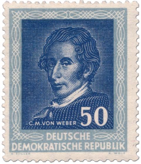 Briefmarke: Carl Maria von Weber (Komponist, DDR 1952)