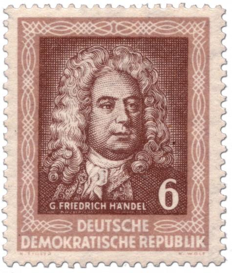 Briefmarke: Georg Friedrich Händel (DDR 1952)