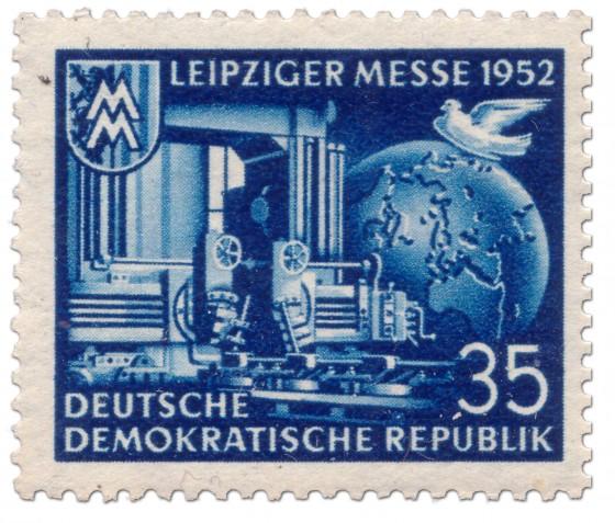 Briefmarke: Leiziger Herbstmesse 1952 (blau)